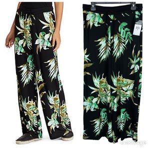 NWT Ralph Lauren Wide Tropical-Print Jersey Pants